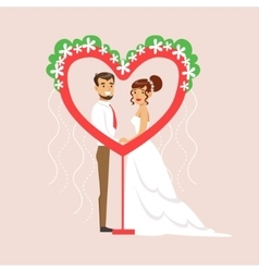Newlyweds Posing In Heart-Shaped Frame At The vector
