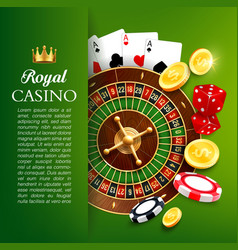 Online casino roulette and chips gambling games vector