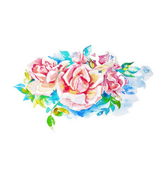 Original hand painting watercolor roses vector