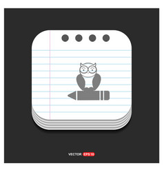 owl icon gray icon on notepad style template eps vector image