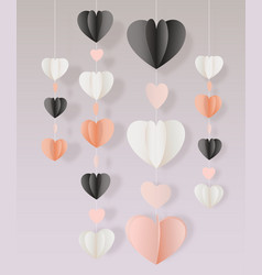 paper cut hearts garland decoration card vector image