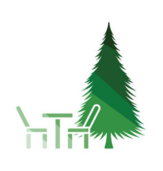 park seat and pine tree icon vector image