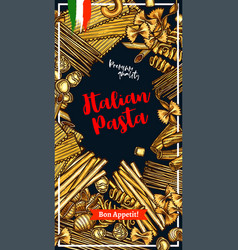 pasta banner with italian macaroni sketch frame vector image
