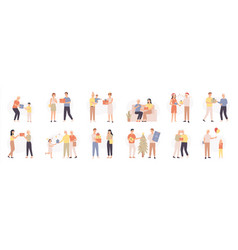 people with gifts various characters give and vector image