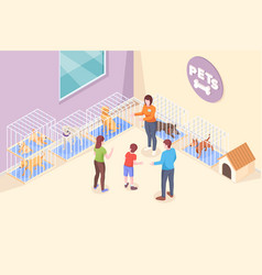 pet adopt family choose dog puppy animal shelter vector image