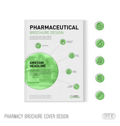 Pharmaceutical brochure cover template applicable vector