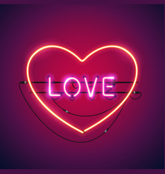 pink love in the heart neon sign vector image