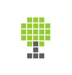 pixel tree symbol digital plant icon design vector image