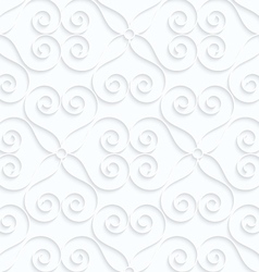 Quilling white paper hearts with swirls vector image