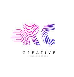 Rc r c zebra lines letter logo design with vector