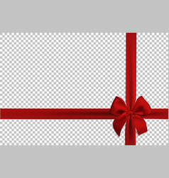 Realistic red bow and ribbon isolated on vector