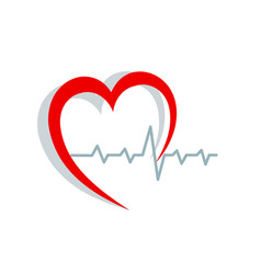 red heart silhouette and cardiogram on white vector image