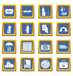 Refugees problem icons set blue vector