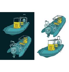 Rigid inflatable boat vector