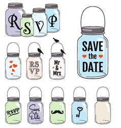 Save the date jar designs vector image