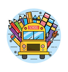 School bus with pencils colors and ruler vector