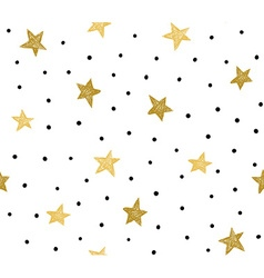 Seamless pattern with chaotic dots and stars vector image