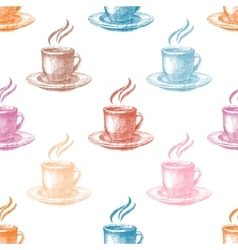 Seamless pattern with colorful coffee cups vector image