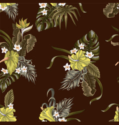 seamless pattern with tropical flowers and leaves vector image