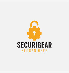 security gear logo design template isolated vector image