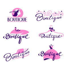 Set boutique lettering and typography hand vector