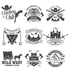 Set knight historical and cowboy club design vector