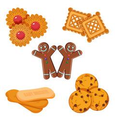 Set of biscuits gingerbread boy vector