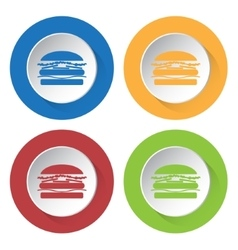 set of four icons with hamburger vector image