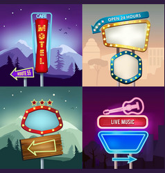 set retro landscape vector image