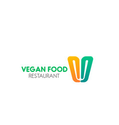 sign for vegan food cafe vector image