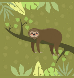 Sloth rests on a twig postcard template vector
