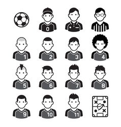 soccer football player black icons vector image