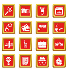 spy icons set red square vector image
