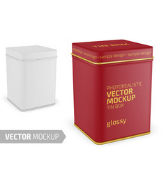square matte tin can template realistic vector image