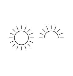 Sun and half sun for sunrise line icon outline vector