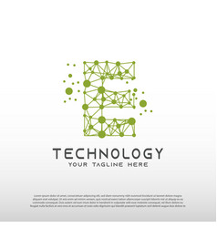 Technology logo with initial e letter network vector