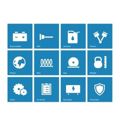 Tools icons on blue background vector