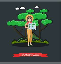 tourist card concept in flat vector image