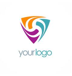 Triangle loop colored logo vector