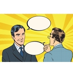 Two businessmen dialogue conversation vector