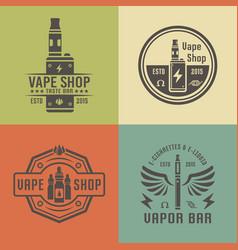 Vape shop and electronic cigarette emblems vector