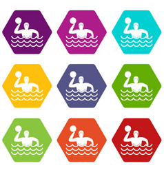 Water polo icon set color hexahedron vector
