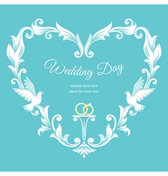 Wedding heart frame vector