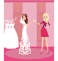 Wedding planner and bride vector
