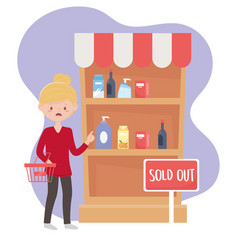 Woman customer with market basket sold out shelf vector