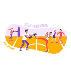 Women selfdefense course composition vector