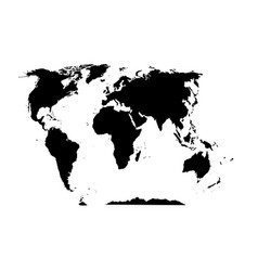 world map black silhouette on a white background vector image