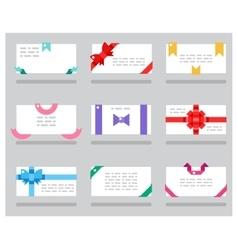Abstract cards red gift bows ribbons set vector image vector image