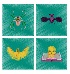 assembly flat shading style icon halloween spider vector image vector image