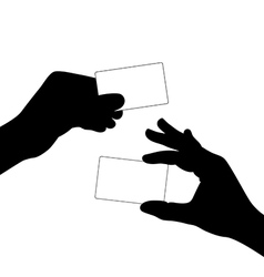 hand hold a blank card silhouette vector image